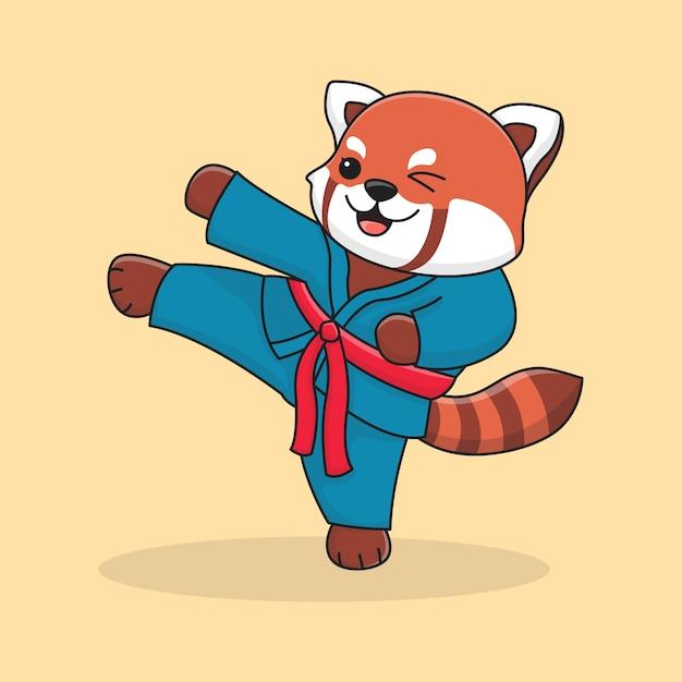 Netter roter panda tritt Premium Vektoren