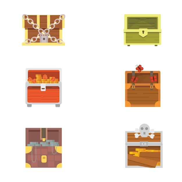 Netter satz verschiedener truhen Premium Vektoren