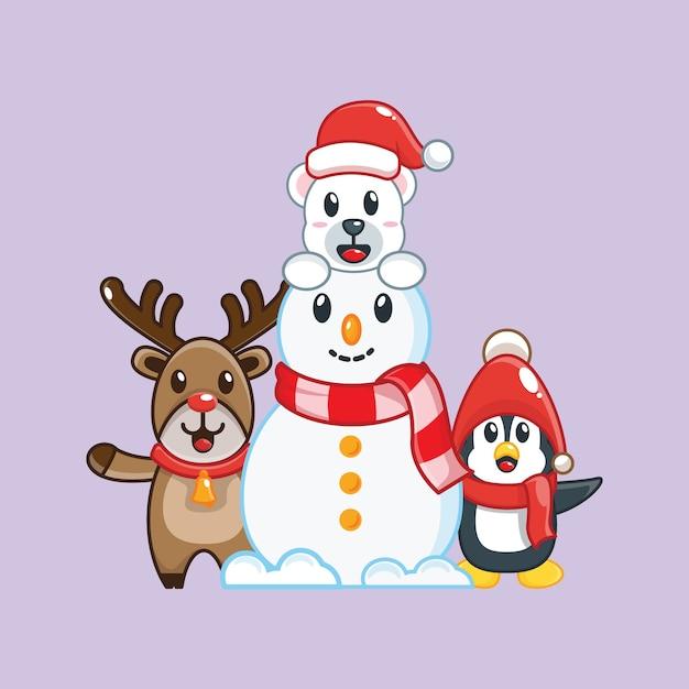 Netter schneemann und freunde. weihnachtsillustration. Premium Vektoren