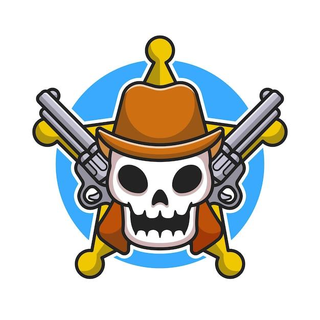 Netter sheriff-schädel mit gewehr-karikatur-illustration. flacher cartoon-stil Kostenlosen Vektoren