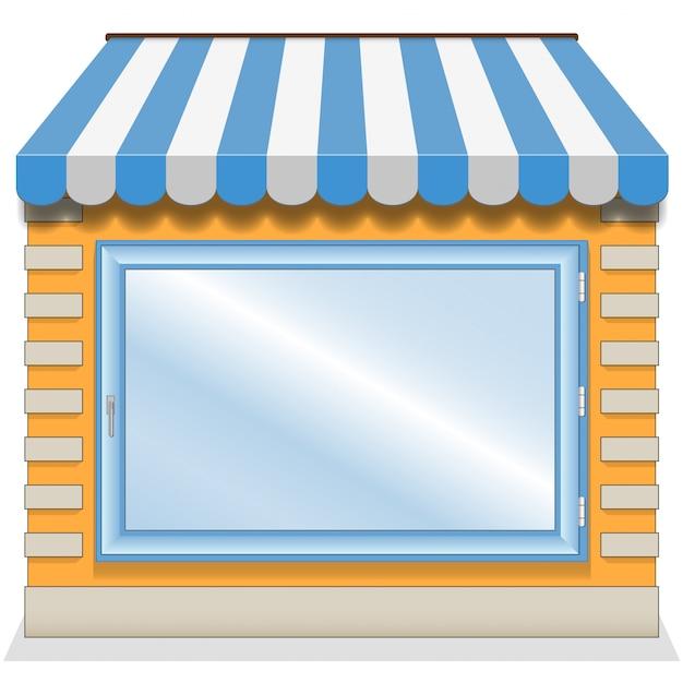 Netter shop mit blauen markisen Premium Vektoren