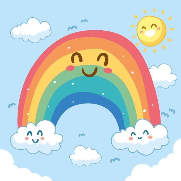 Netter smiley-regenbogen Premium Vektoren