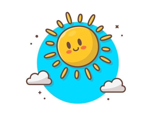 Netter sonnenaufgang mit wolken-ikonen-illustration Premium Vektoren