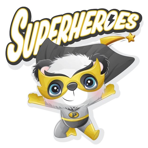 Netter superheldenpanda mit aquarellillustration Premium Vektoren