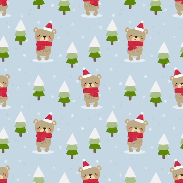 Netter teddybär im nahtlosen muster des weihnachtsthemas Premium Vektoren