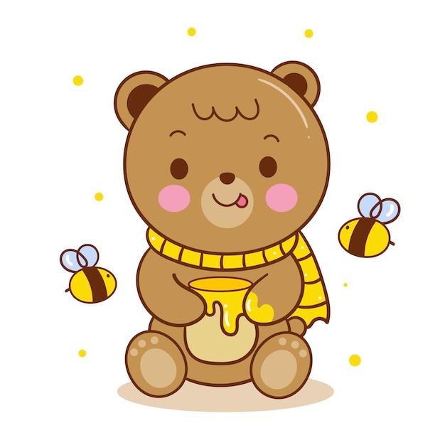 Netter teddybärvektor, der honigtopfkarikatur hält Premium Vektoren