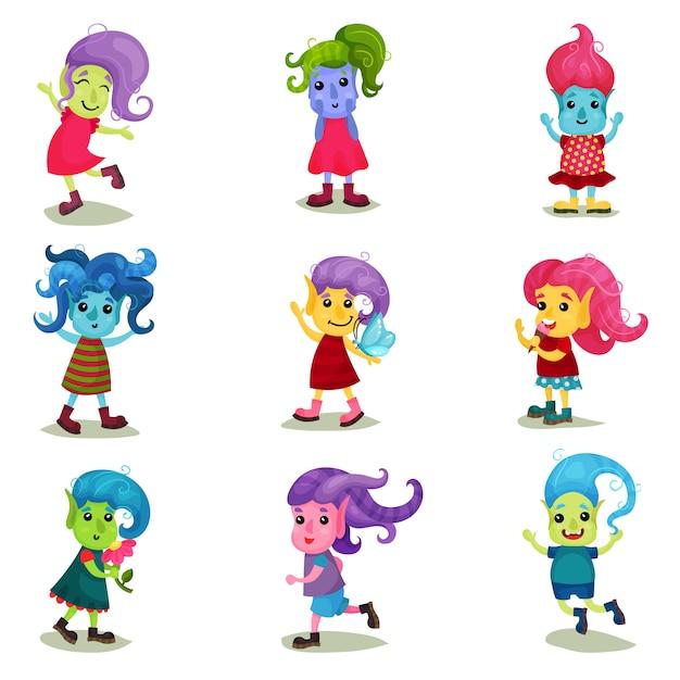 Netter troll-zeichensatz, glückliche kreaturen mit verschiedenen haut- und haarfarben illustrationen auf einem weißen hintergrund Premium Vektoren