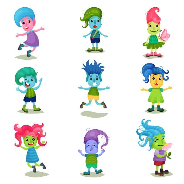 Netter troll-zeichensatz, lustige kreaturen mit verschiedenen haut- und haarfarben illustrationen auf einem weißen hintergrund Premium Vektoren