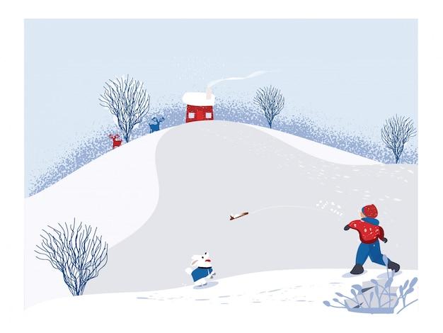 Netter unbedeutender vektor der wintersaison szene der snowey winterlandschaft mit dem glücklichen kind, das hölzernen stock mit hund spielt kiefernbaum und weißer schnee mit tannenhügeln und laubbäumen weiße, blaue und rote farbe Premium Vektoren