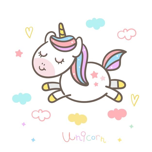 Netter unicorn vector sprung in die luft Premium Vektoren