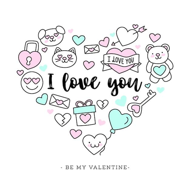 Netter von hand gezeichneter valentinstag-hintergrund Kostenlosen Vektoren