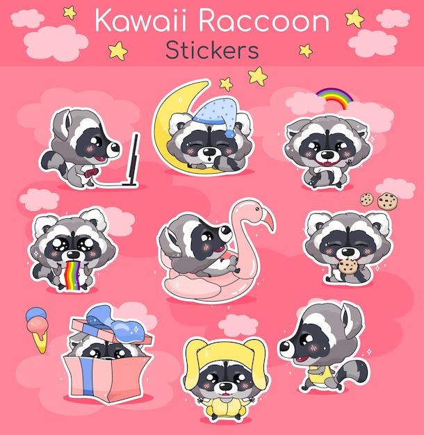 Netter waschbär kawaii zeichentrickfiguren eingestellt. entzückendes und lustiges lächelndes tier isolierte aufkleber, aufnäher, kinderbuchillustrationspaket. kleine waschbärenemojis des anime-babys auf rosa hintergrund Premium Vektoren