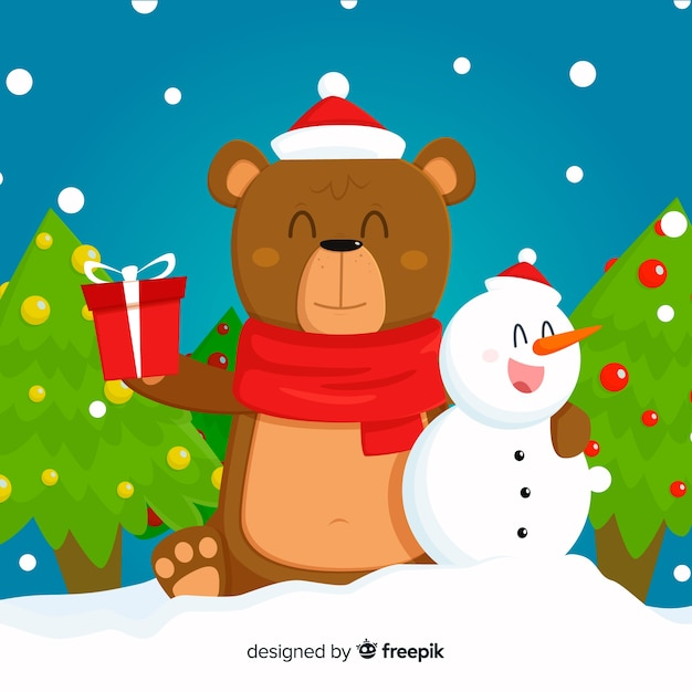Netter Weihnachts animales Hintergrund Kostenlose Vektoren