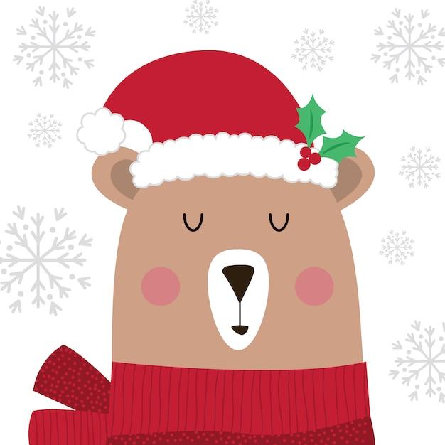 Netter weihnachtsbär mit sankt-hut auf weißem hintergrund Premium Vektoren