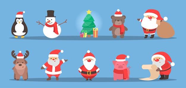 Netter weihnachtscharakter, der einen feiertagssatz feiert. weihnachtsmann und rentier, schneemann und schwein. weihnachtsfeier. flache vektorillustration Premium Vektoren