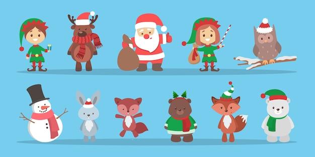 Netter weihnachtscharakter, der einen winterferiensatz feiert. weihnachtsmann und fuchs, schneemann und schwein. weihnachtsfeier. flache vektorillustration Premium Vektoren