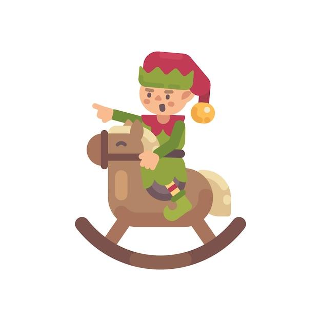 Netter weihnachtselfe, der ein schaukelpferd reitet. flache charakterillustration weihnachtsmann-elfe Premium Vektoren