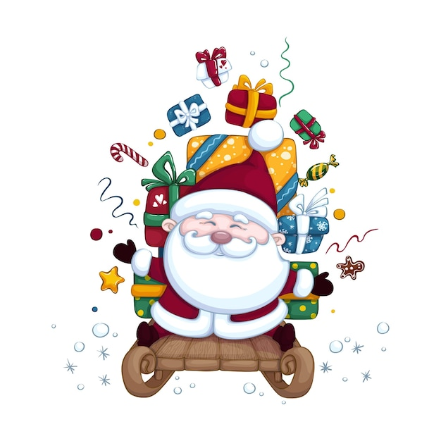 Netter weihnachtsmann auf einem schlitten, der kisten mit geschenken trägt. weihnachten oder neujahr illustration. charakter isoliert. Premium Vektoren
