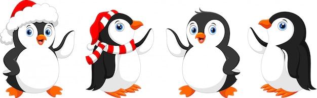 Netter weihnachtspinguin, pinguinzeichensatz. Premium Vektoren