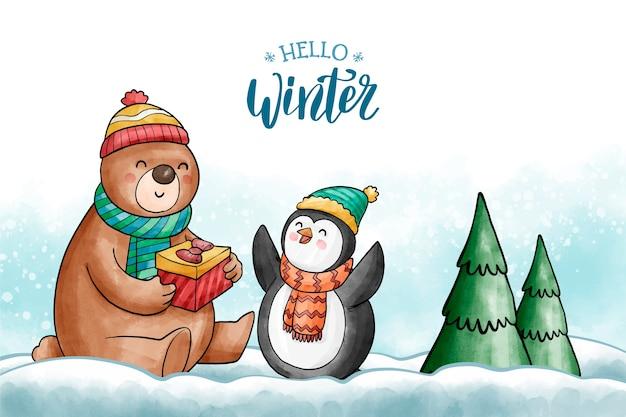 Netter wintercharakterhintergrund Kostenlosen Vektoren