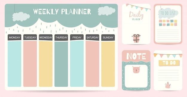 Netter wöchentlicher planerhintergrund für kind Premium Vektoren