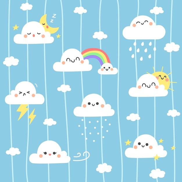 Netter wolkenillustrationshintergrund. Premium Vektoren