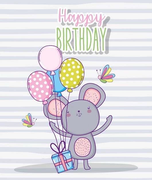 Nettes alles gute zum geburtstag des koalas mit ballonen und anwesendem geschenk Premium Vektoren