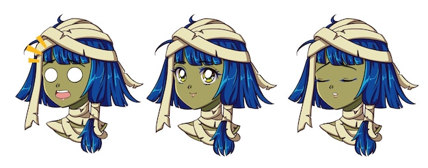 Nettes anime-mumienmädchenporträt. zwei verschiedene ausdrücke. Premium Vektoren