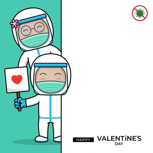 Nettes arztpaar mit glücklichem valentinstaggruß Premium Vektoren