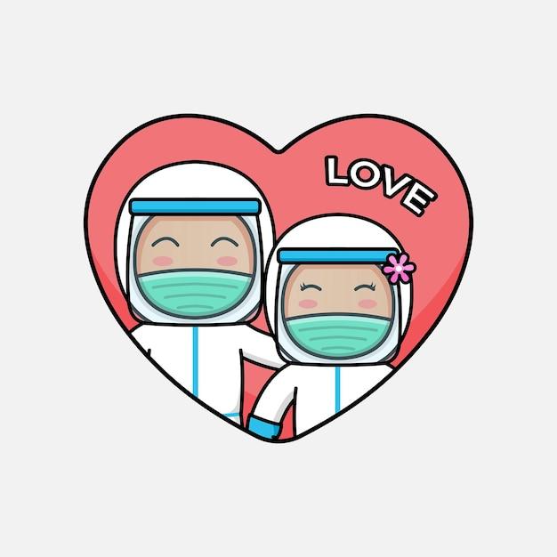 Nettes arztpaar mit schutzanzug am valentinstag Premium Vektoren