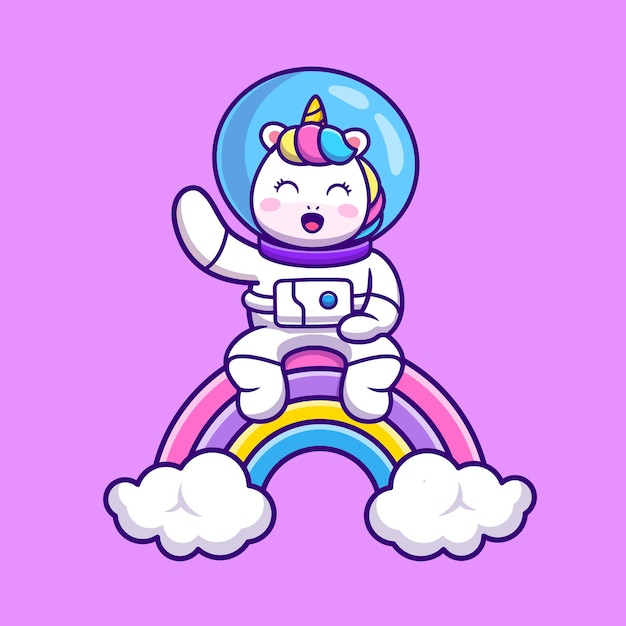 Nettes astronauten-einhorn, das auf regenbogen-karikatur sitzt Kostenlosen Vektoren
