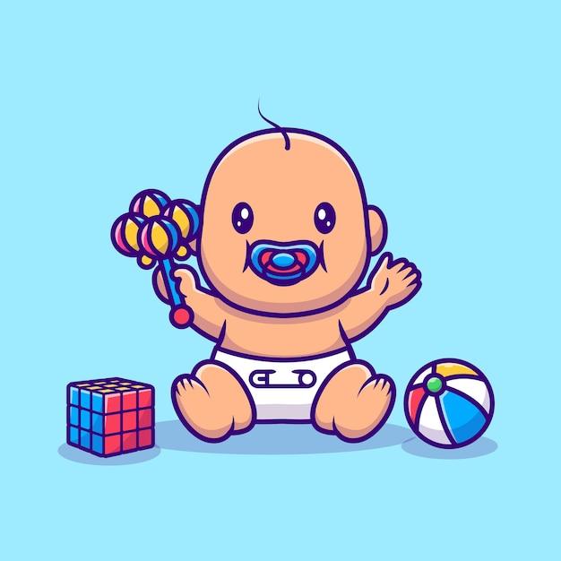 Nettes baby, das spielzeug cartoon illustration sitzt und spielt. people object icon-konzept Kostenlosen Vektoren