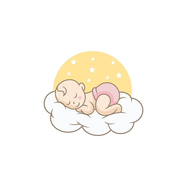 Nettes baby logo designs template schlafen Premium Vektoren
