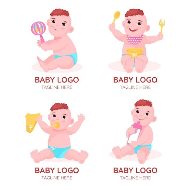 Nettes baby-logoset Kostenlosen Vektoren