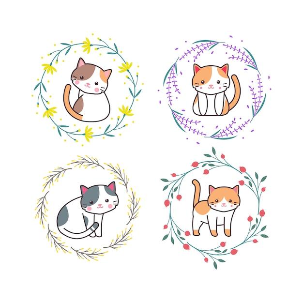 Nettes babykatzen-tier mit blumenkranz-karikatur-hand gezeichneter stil Premium Vektoren
