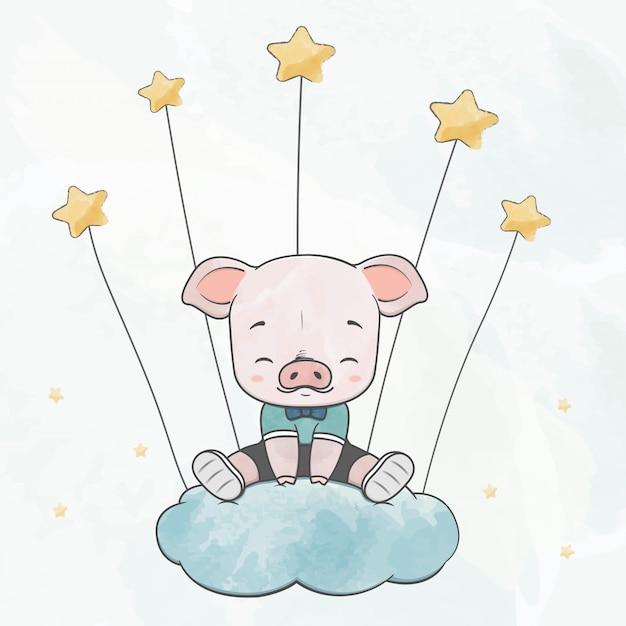 Nettes babyschwein sitzen auf der wolke mit der gezeichneten sternwasserfarbkarikaturhand Premium Vektoren