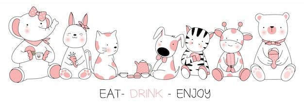 Nettes babytier mit essen, trinken, genießen, gezeichnete art der karikatur hand Premium Vektoren