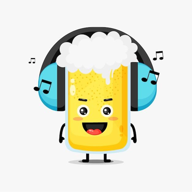 Nettes biermaskottchen, das musik hört Premium Vektoren