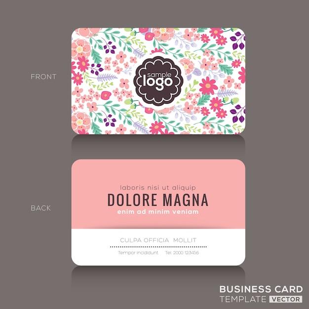 Nettes Blumenmuster Visitenkarte Visitenkarte Design Vorlage
