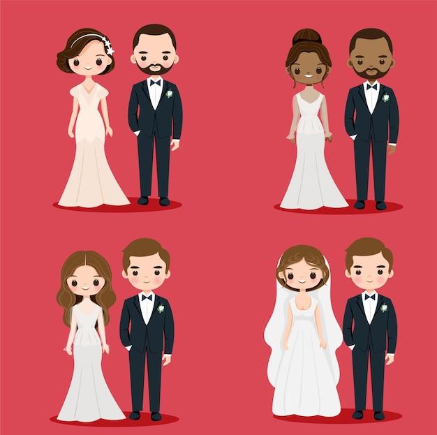 Nettes braut- und bräutigampaar im hochzeitskleid für einladungskartenentwurf Premium Vektoren