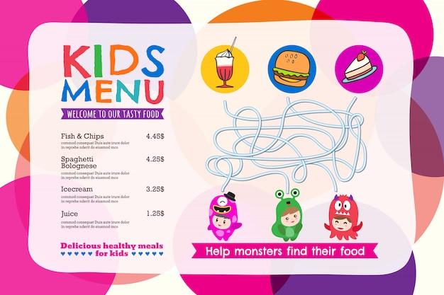 Nettes buntes kindermahlzeit-menü placemat mit kreishintergrund Premium Vektoren