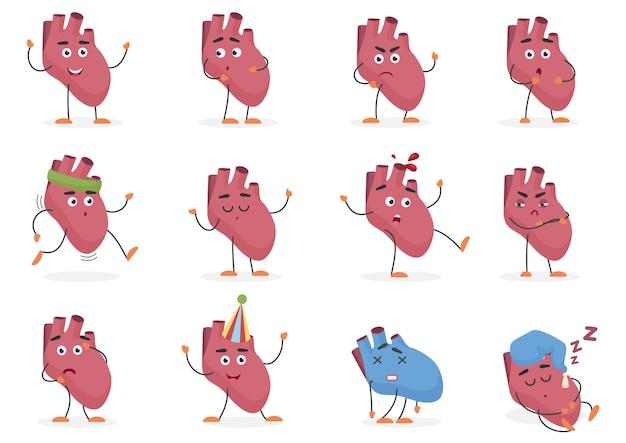 Nettes cartoon menschliches herz inneres organ emotionen und posen gesetzt. Premium Vektoren