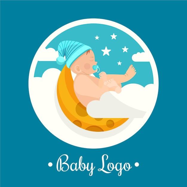 Nettes detailliertes babylogo auf mond Kostenlosen Vektoren