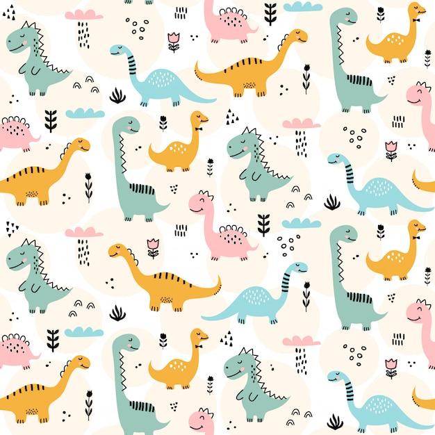 Nettes dinosauriermuster - hand gezeichnetes nahtloses musterdesign des kindischen dinosauriers Premium Vektoren