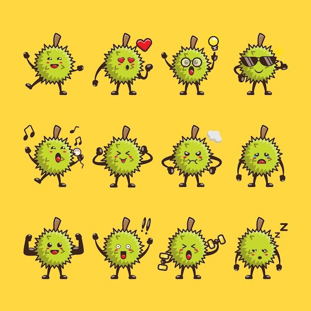 Nettes durian cartoon design set Premium Vektoren