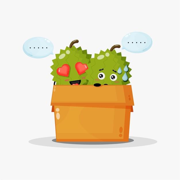 Nettes durian maskottchen in der box Premium Vektoren
