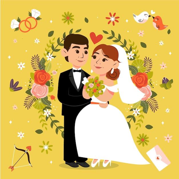 Nettes ehepaar illustriert Kostenlosen Vektoren