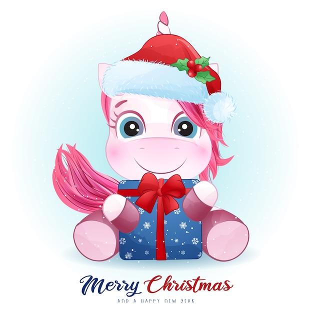 Nettes einhorn für weihnachtstag mit aquarellillustration Premium Vektoren