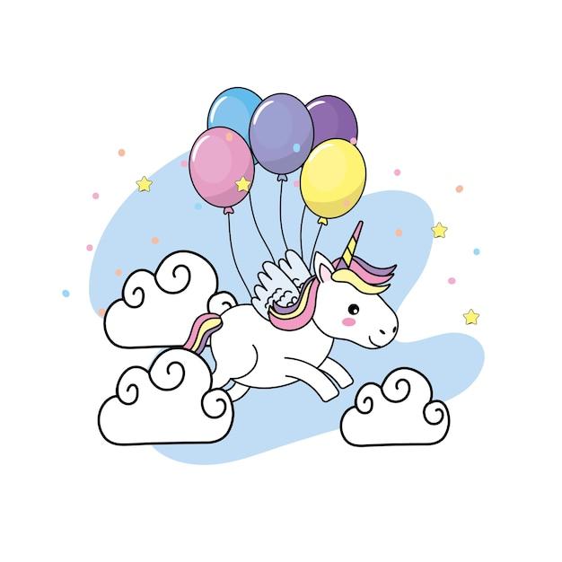nettes einhorn mit flügeln und ballonen und wolken