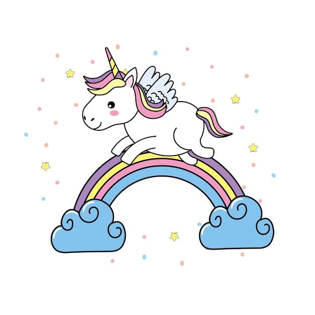 nettes einhorn mit flügeln und regenbogen mit wolken